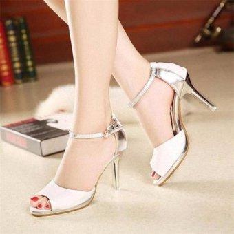 Sandal cao gót HQ phối màu-White