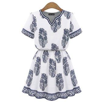 Cyber Women Casual V-neck Short Sleeve Print Pleated Dress - Intl