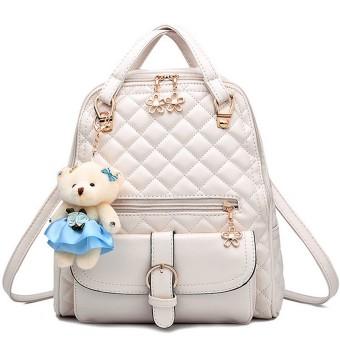 3 in 1 PU Leather Casual Outdoor Travel Handbag Backpack Shoulder Bag with Bear Pendant and Petal Shape Zipper Beige - intl