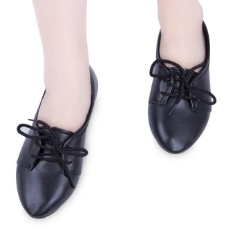 Retro Ladies Solid Color Lace Up Casual Flat Shoes(Black) - intl