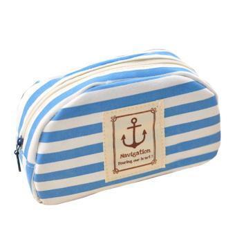 Practical Canvas Pencil Pen Cosmetic Makeup Storage Bag Pouch Case Purse Blue - Intl