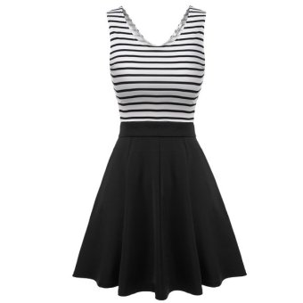 Cyber Meaneor Women Sleeveless Striped Sundress Back Hollow Patchwork Casual Party Slim Mini Pleated Dress - Intl
