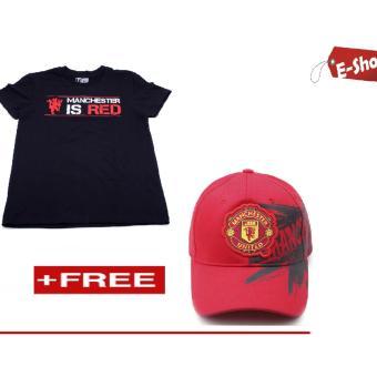 Áo Thun Manchester United E - Shop Design (Đen) + Tặng 1 Nón Mu (Đỏ)