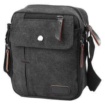 Fashion Men's Canvas Travelling Crossbody Bag Outdoor Cycling Shoulder Bag (Black) - intl
