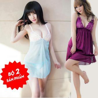 Váy ngủ ren ngực 2 dây sexy + Tặng Đầm ngủ chéo lưng màu tím