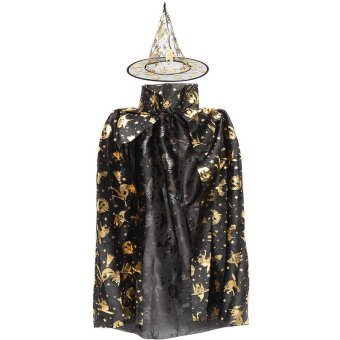 Children Kids Girl Halloween Cloak Witch Dress Fancy Dress Cosplay Party Costume (golden) NEW - intl