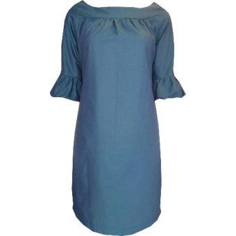 Đầm Công Sở D-268 Blue 3/4 Sleeve