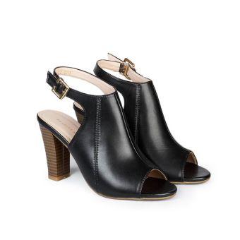 Giày cao gót nữ quai hậu hở mũi cao 9cm Hùng Cường HC1301 (Đen)