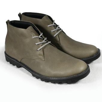 Giày boot nam cột dây đế thô màu rêu lợt da hột Tathanium Footwear (Rêu lợt)