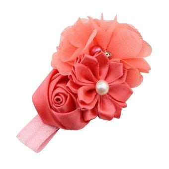 HKS Chiffon Faux Pearl Headband (Red) - intl