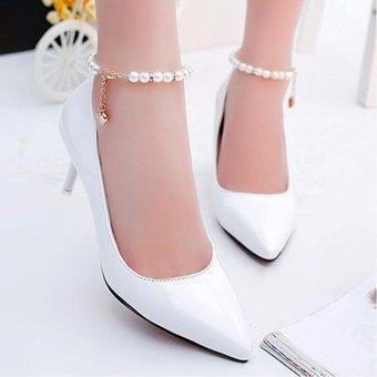 Giày cao gót có vòng ngọc trai 157 (Trắng)
