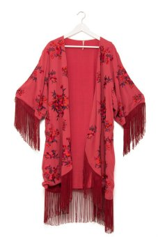 Free People Embr Floral Kimono (Red)