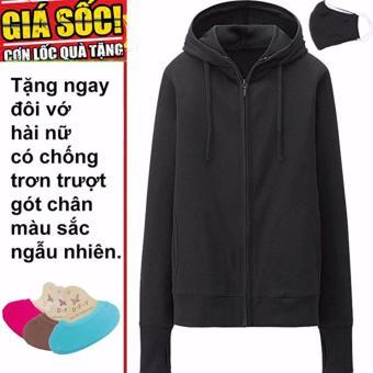 Áo khoác chống nắng cotton DMA store (đen) tặng 1 đôi tất chống trơn trượt và 1 khẩu trang hoạt tính