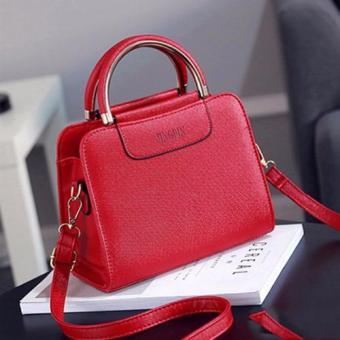 Túi đeo chéo Jingpiv tay cầm viền vàng (đỏ)