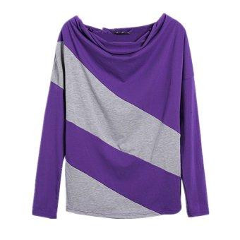 ZANZEA Women's Casual Loose Batwing Long Sleeve T-shirt Stripe Tops Blouses Top Purple - Intl