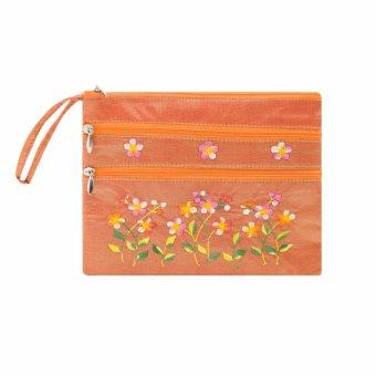 Ví cầm tay 3 khóa Hoian Gifts vải lụa thêu hoa (cam nhạt) HA-50N
