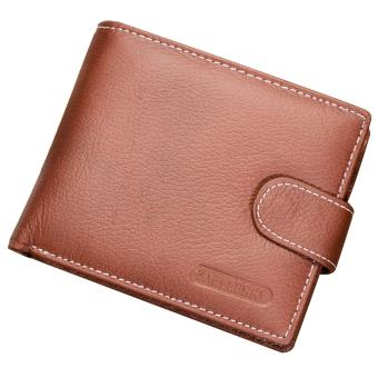 Men PU Leather Retro Money Credit Cards Holder Case Coin Change and Short Wallet Purse Gift Brown - intl