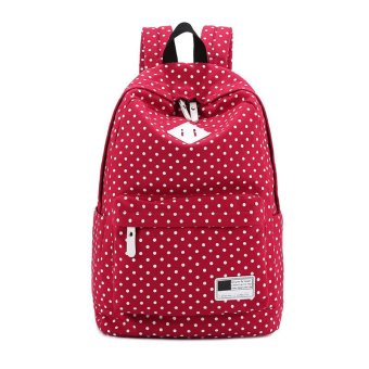 Canvas Backpack Polka Dot School Shoulder Bag Travel Rucksacks Red