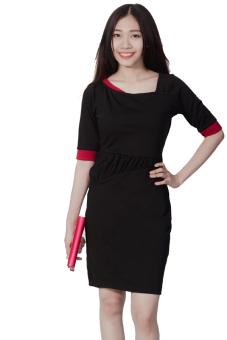 Đầm phối màu Suvanna MDB068 (Đen)