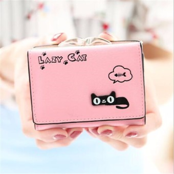 Fashion Women Lady Purse Handbag Clutch Change Coin Card Holder Bag Short Wallet Light Pink - Intl