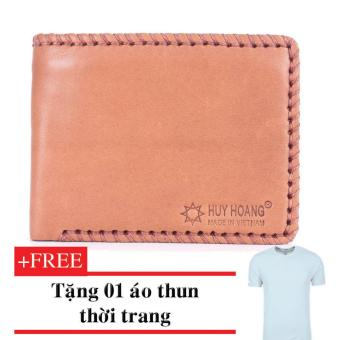 HM2134-Bóp nam đan viền (Da) + Tặng 01 áo thun thời trang