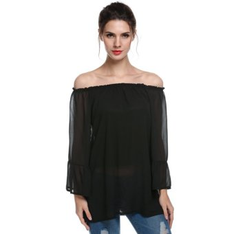 Cyber ACEVOG Women Casual Off Shoulder Long Flare Sleeve Chiffon Shirt Blouse Top - Intl