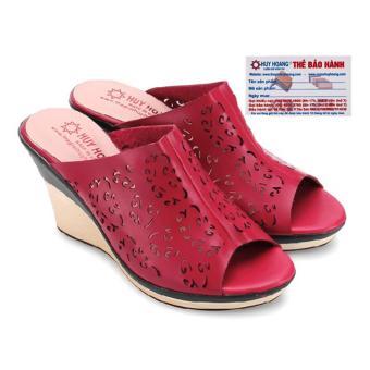HL7074 - Giày nữ Huy Hoàng đế xuồng màu đỏ đô