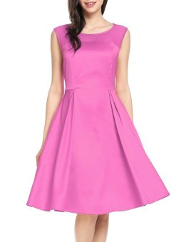 Cyber New Women Casual O-Neck Sleeveless Mesh Patchwork See-through A-Line Pleated Hem Dress ( Pink Purple ) - intl