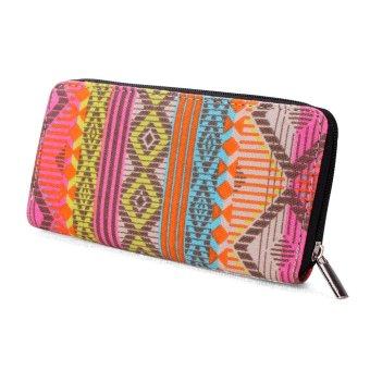 Women Canvas Purse Lady Geometric Print Long Handbag Wallet Bohemia Zip Pocket Beige - intl