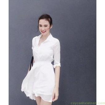 Đầm xòe voan cổ sơ mi màu trắng xinh như phương trinh | Đầm xòe đẹp