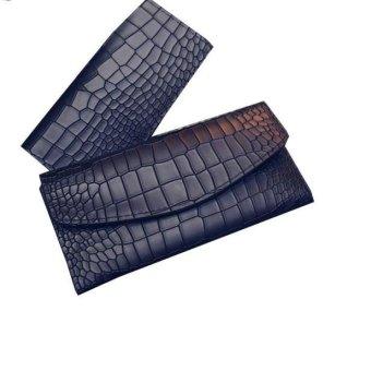 New Fashion Lady Women Crocodile pattern Leather Clutch Wallet Long Card Wallet Black - intl