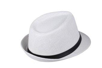 Fashion Women Men Hat Fedora Trilby Cap Straw Beach Sunhat with Belt Unisex (White) - intl