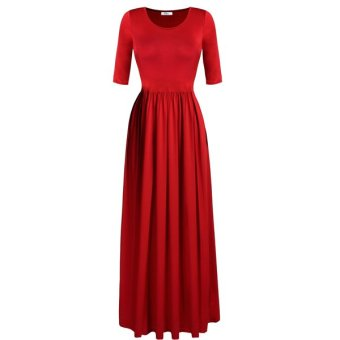 Cyber Meaneor Stylish Lady Elegant Women Fashion Casual Medium Sleeve Solid Party Maxi Long Full Dress - Intl