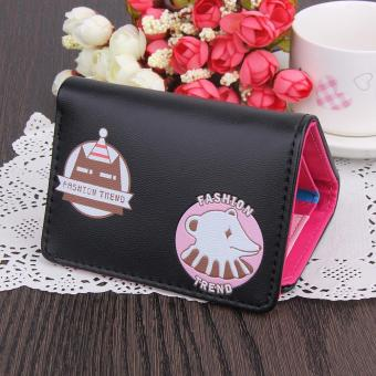 Fashion Women PU Leather Short Wallet Floral Cute Bear Card Holder Clutch - intl
