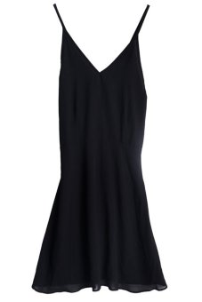 LALANG Woman Cross Strap V-Neck Dress Black - Intl