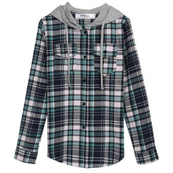 Linemart Meaneor Women Fashion Lady Plaid Loose Hooded Shirt Blouse Hoodies Single Breasted Top ( Green ) - intl