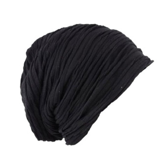 Hip Hop Fold Cap Slouch Wrinkled Beanie Cap Male And Female Dance Hat Black