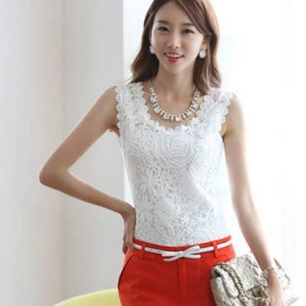 Sexy Women 's Knitted Lace Spaghetti Strap Sleeveless Tank Top - intl