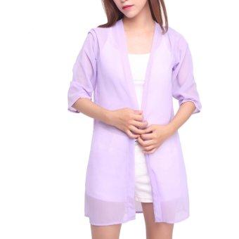 Fancyqube Women Shirts Chiffon blouse Shirts Beach Sunscreen Clothing Printed Ultra thin shawl Purple - intl