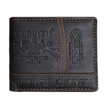 Mens Leather Bifold Card Holder Wallet(Brown) - intl