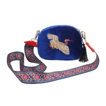 Ethnic Women Pleuche Embroidery Crane Shoulder Bag (Blue) - intl