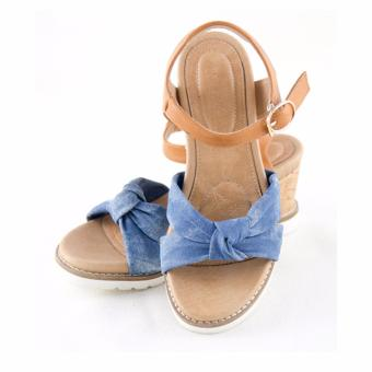 [The bany] Sandal đế xuồng 7,5cm quai jean đan chéo