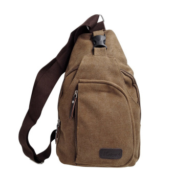 Sports Canvas Sling Chest Bag Crossbody Shoulder Satchel Unbalance Backpack Small Size Coffee