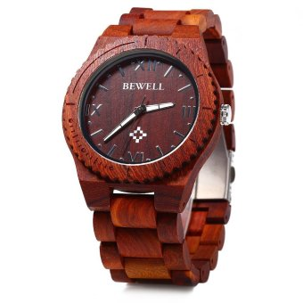 Bewell ZS-W065A Men Wood Quartz Watch Roman Numeral Scales (Red Sandalwood) - intl