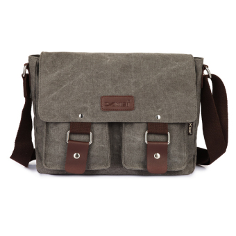 Canvas Messenger Shoulder Sling Bag for Men Students Grey