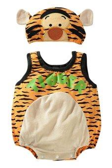 Bộ áo liền quần liền con hổ có Nón Family Shop TEH24 (Cam)