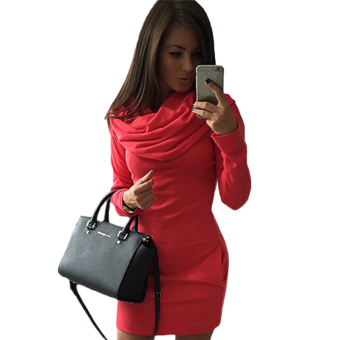 Fancyqube Long Sleeve Fashion Casual Style women Dress Red