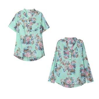 ZANZEA Europe Style Women V Neck Button Floral Chiffon Top Short Sleeve Blouse Tee Shirt - Intl