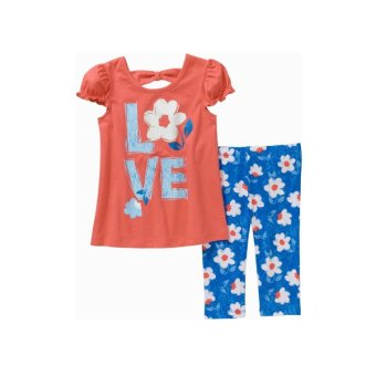 Bộ áo quần thun bé gái Cam Xanh – Healthtex