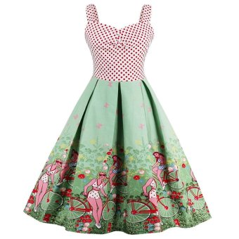 Zaful Woman Vintage Dresses Floral Print 1950s Style Patchwork Backless Cute Summer Party Women Dress Vintage Dress(Multicolor) - intl